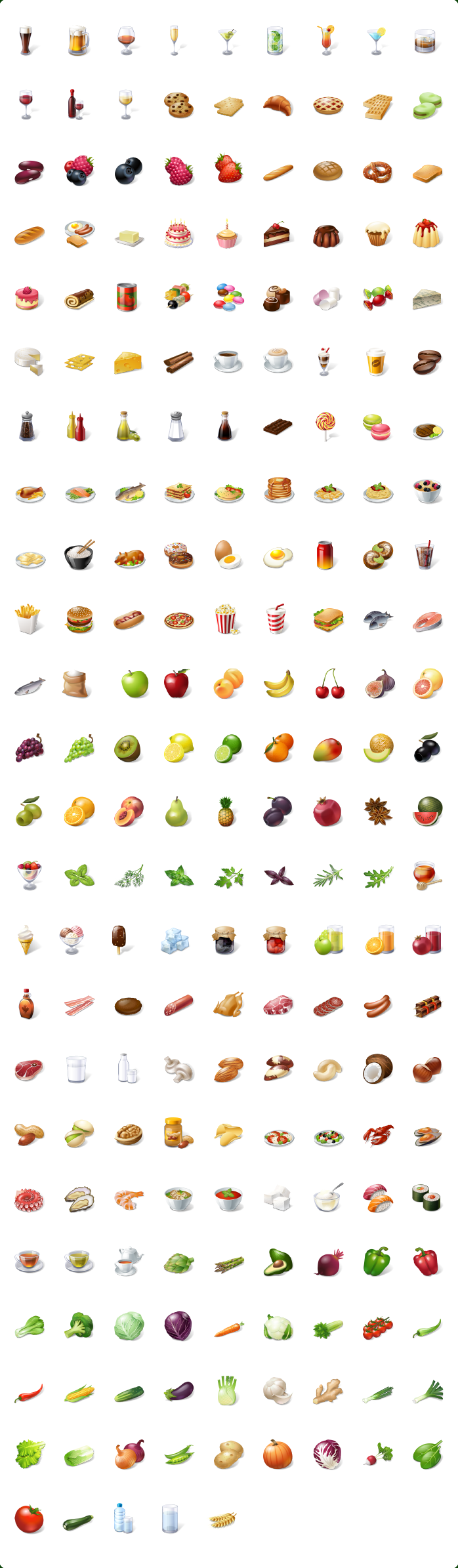 Food Icons, Nutrition Icons