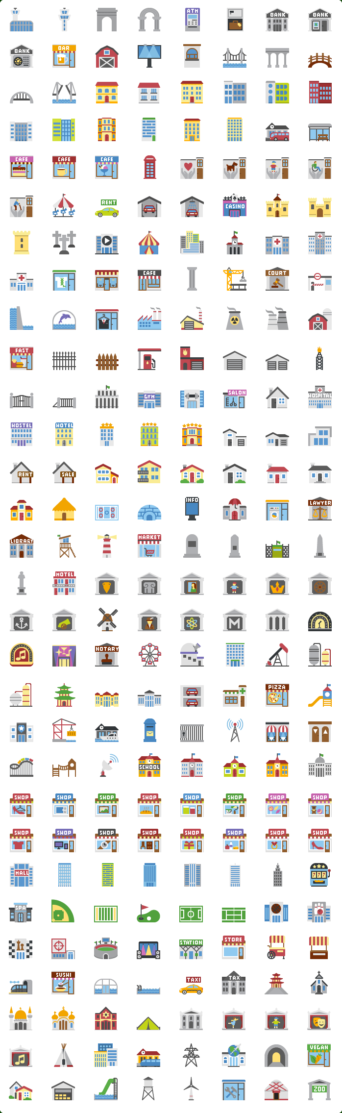 Flat Buildings Icons