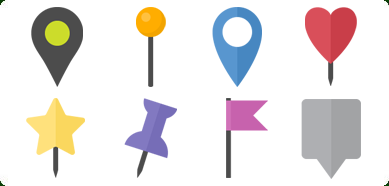 Flat Map Markers Icons Set