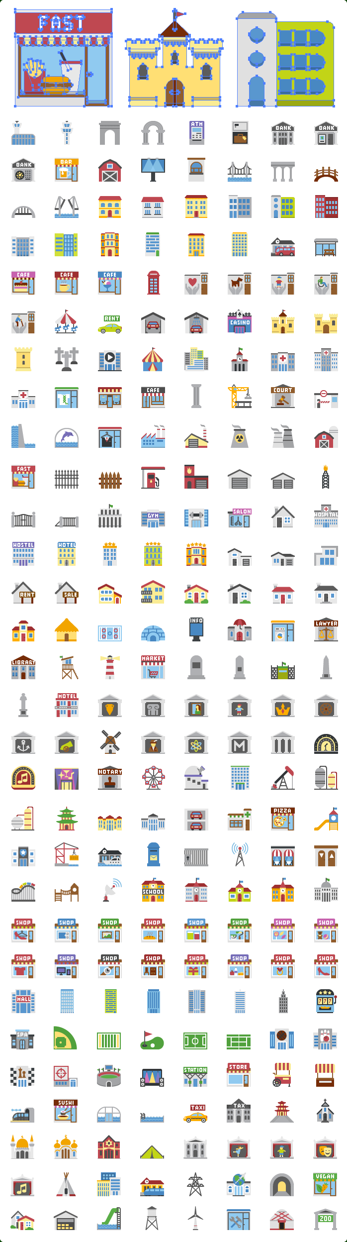 Flat Buildings SVG Icons
