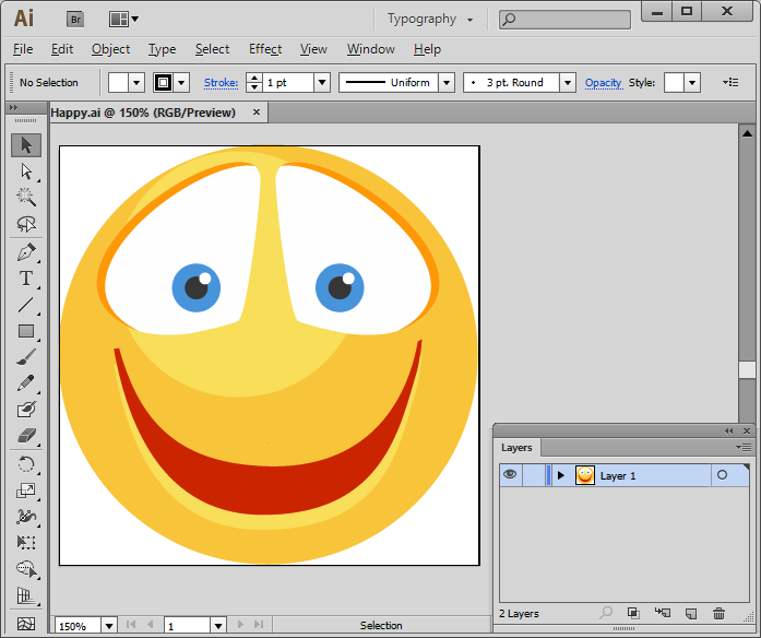 Flat Vector Emoticons - one icon in Adobe Illustrator