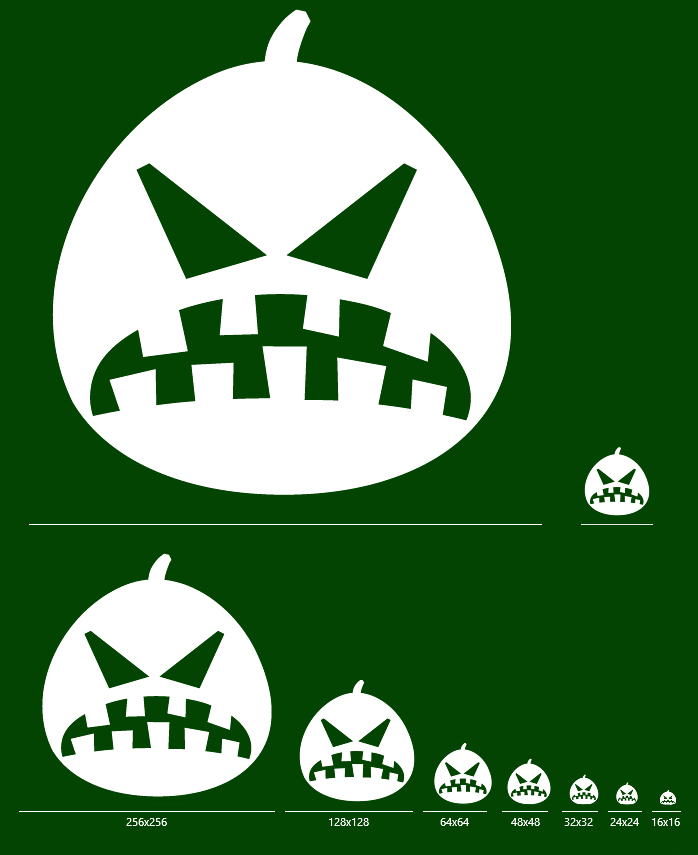 Halloween Pumpkin Emoticons - One icon in all sizes: 16x16, 24x24, 32x32, 48x48, 64x64, 72x72, 128x128, 256x256, 512x512