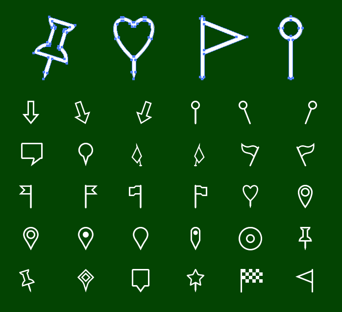Metro Map Markers SVG Icons - Outline icons (iOS style)