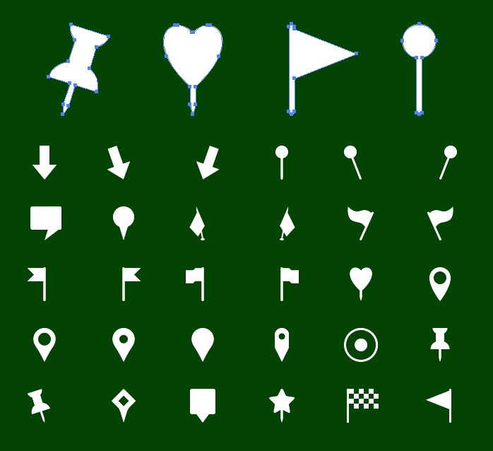Vector Metro Map Markers Icons - Solid icons