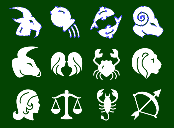 Vector Metro Zodiac Icons - Solid icons
