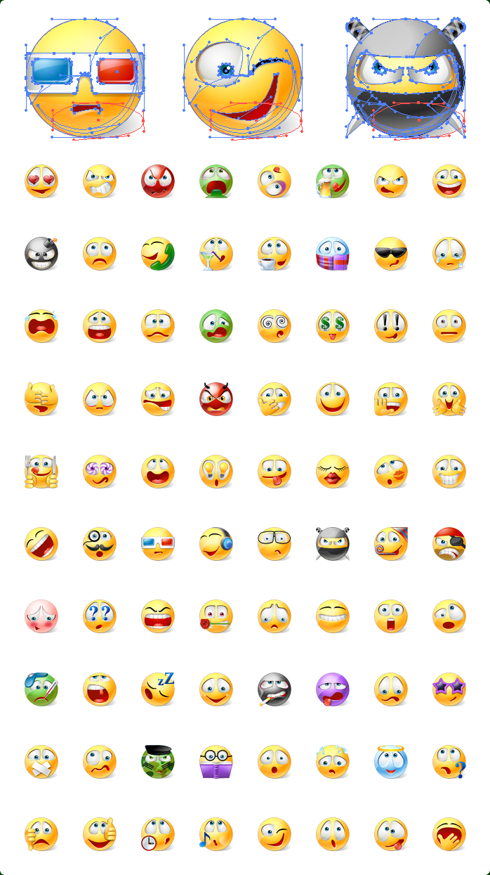 Icons preview of Vector Emoticons