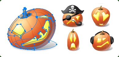 Vector Halloween Pumpkin Emoticons