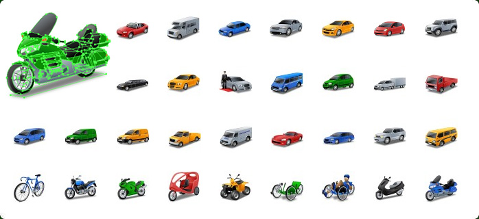 Cars Vector Icons, Motorcycle Vector Icons, Sports Car Vector Icon