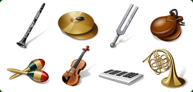 Vista Style Musical Instruments Icon Set