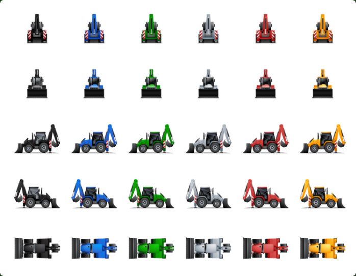 Transport Multiview Icon Set - One icon in different variations