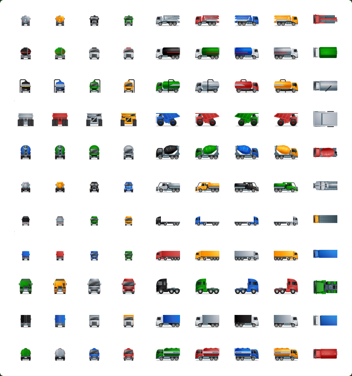 Trucks Icons, Delivery Truck Icon, Shipping Truck Icon, Semi Truck Icon, Moving Truck Icon
