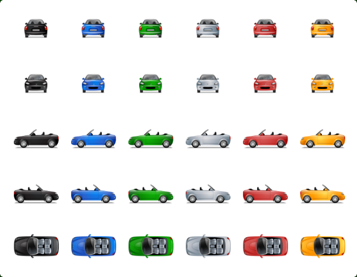 Transport Multiview SVG Icons - One icon in different variations