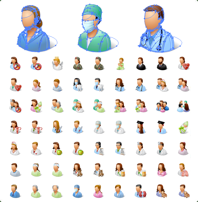 Medical Personal and Patients Icons