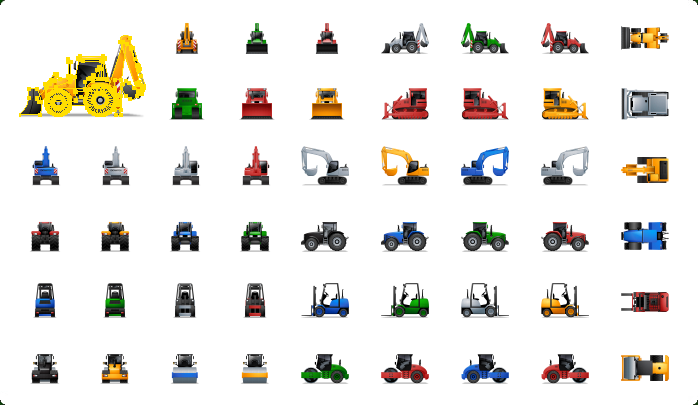 Heavy Equipment Icons, Construction Icons