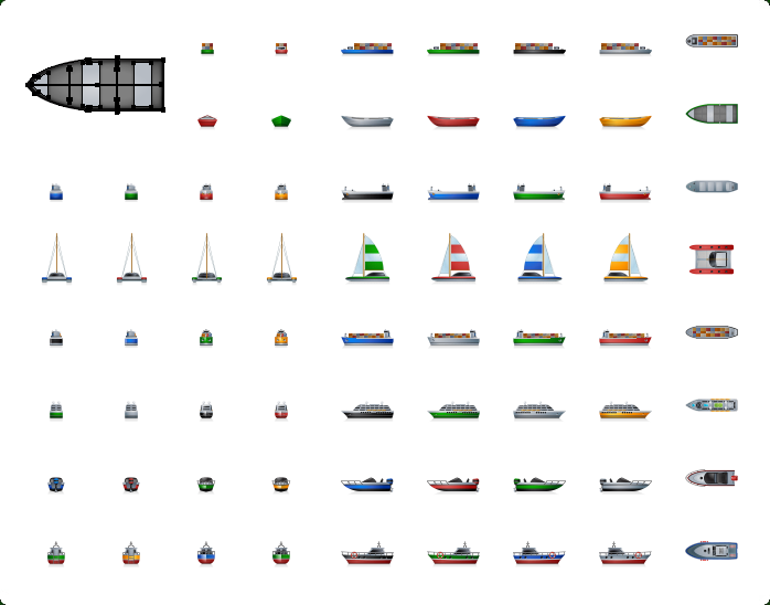 Cruise Ship Vector Icon, Cargo Ship Vector Icon, Sail Ship Vector Icon, Watercrafts Icons