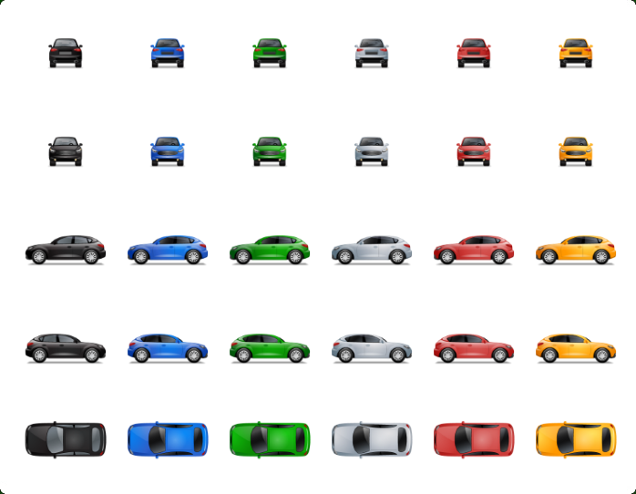 Transport Multiview Vector Icons - One icon in different variations