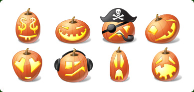 Vista Style Halloween Pumpkin Emoticons