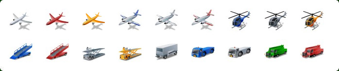 Airplane Icons, Aircraft Icons, Ground Support Service Icons