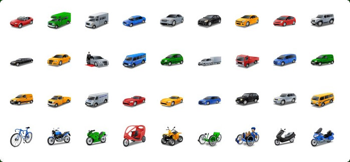 Cars Icons, Motorcycle Icons, Sports Car Icon